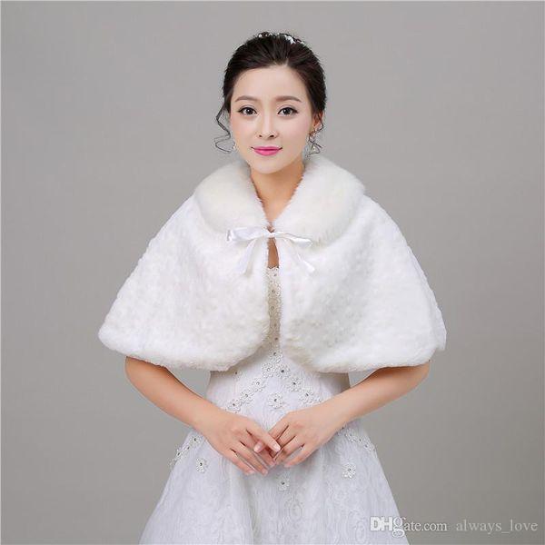 2019 Elegant New Arrival Faux Fur Bridal Wedding Wrap Cape Shawl Jackets Coat Bolero Tippet Stole Special Occasion for Wedding Party PJ012