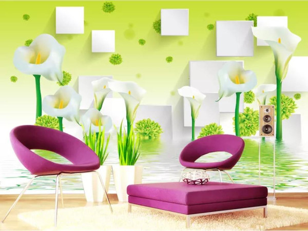 modern living room wallpapers Green Calla Lily Flower Reflection 3D Stereo TV sfondo muro