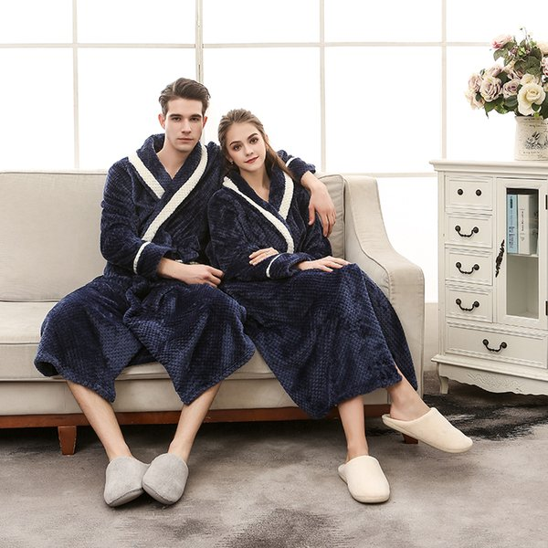 Men Bathrobe Long Flannel Warm Bath Robe 2018 Winter Thicken Kimono Robes Couples Male Dressing Gown Sexy Sleepwear Nightwear