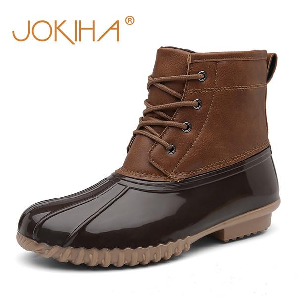 Dos tonos ata para arriba el tobillo lluvia Pato de JOKIHA Mujeres Botas de piel caliente con raquetas de nieve impermeable del invierno de las señoras corto botines del tamaño grande