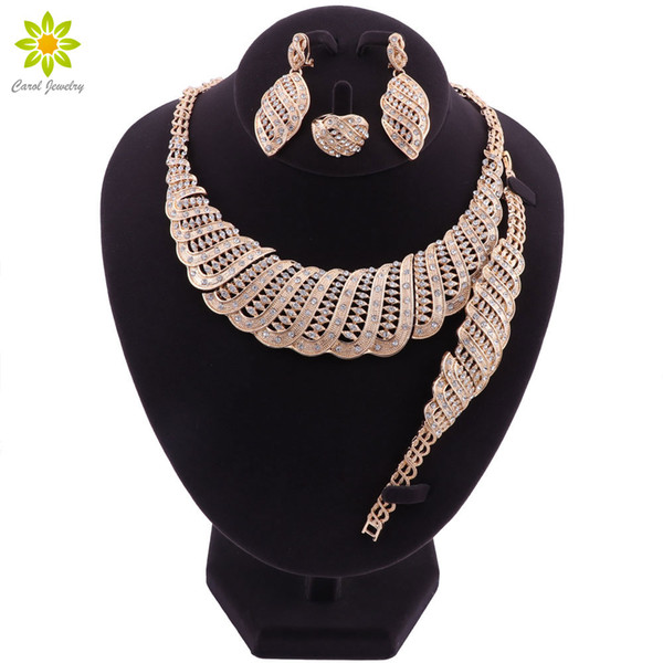 Bridal Jewelry Sets Indian Gold Color Crystal Wedding Jewelry Sets For Women African Luxury Big Dubai Necklace Earrings Set
