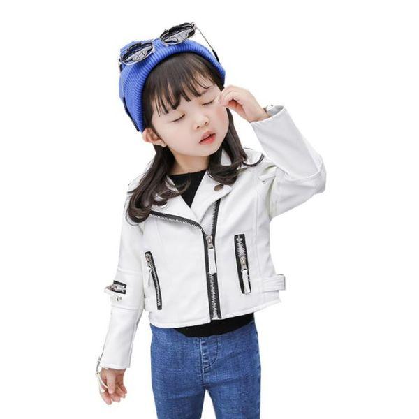 Kore tarzı moda Pu deri ceketler bebek kız ve erkek çocuklar için rahat uzun kollu palto kabanlar toddler