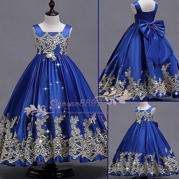 Custom Made 2019 Beautiful royal blue Flower Girls Dresses for Weddings Pretty Formal Girls Gowns lace Satin Puffy Pageant Dress cheap