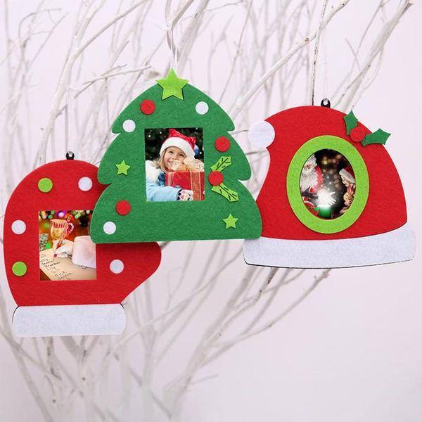 Christmas Tree Pendant Non-woven Photo Frame Picture Holder Frame Xmas Tree Ornaments Christmas Decor
