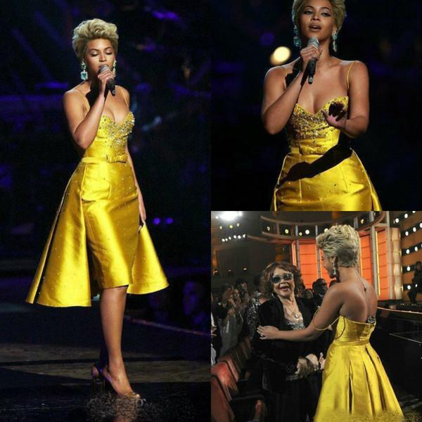 Funda a medida Vestidos de baile con faldón largo desmontable 2019 Beyonce Knowles Spaghetti hasta la rodilla Vestidos de cóctel Vestidos de noche