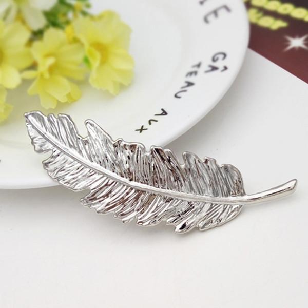 Coreano Cute Clip di capelli oro argento placcato in bronzo foglia ragazze clip di capelli Barrette accessori in metallo per le donne signore