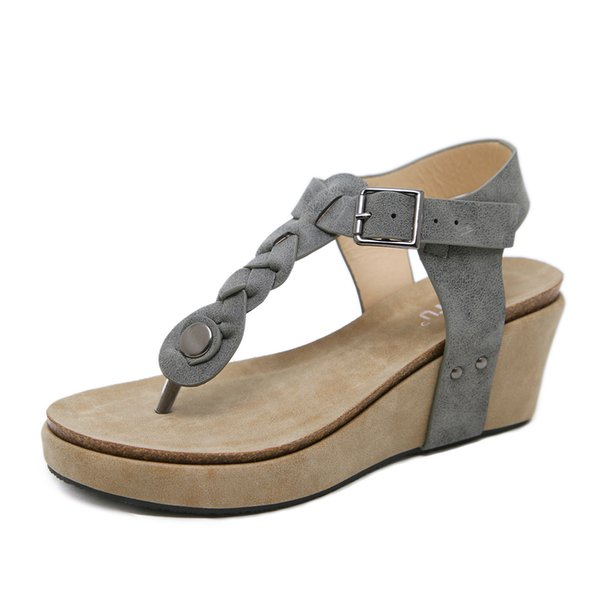 Ladies Platform Weaving Summer Beach T-Strap Wedge Sandals Comfort Walking Shoes