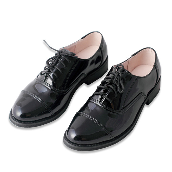 British Style Handmade Patent Leather Lace-Up Shoes Brogue College Oxford Shoes For Women Free Shipping Low-heeled Flats 34-45