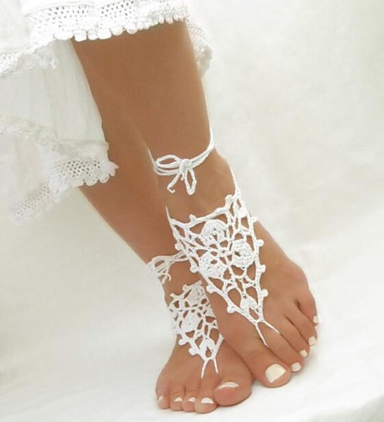 Crochet Barefoot Sandals Beach Pool Wear Toe Anel Tornozeleira Nudeshoes Pé jóias laço do Victorian Yoga sapatos de noiva tornozeleira