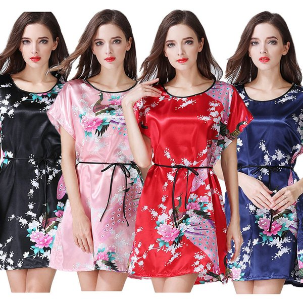 Sexy Costumes for Lady Japanese Style Yukata Bathing Robe Sleepwear Nightgown Pajamas Woman Kimono Dress Haori Mini Satin Gown