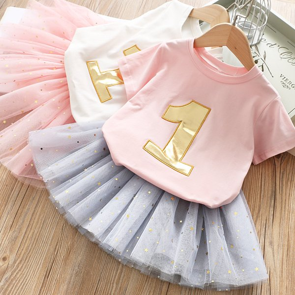 Girls gold unmber embroidery round collar short sleeve T-shirt+sequins star lace tulle tutu skirt 2pcs sets kids princess outfits F6133