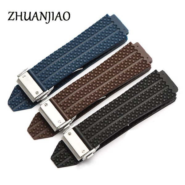 Black silicone strap male fashion plaid skin female stainless steel folding buckle accessories 25mm