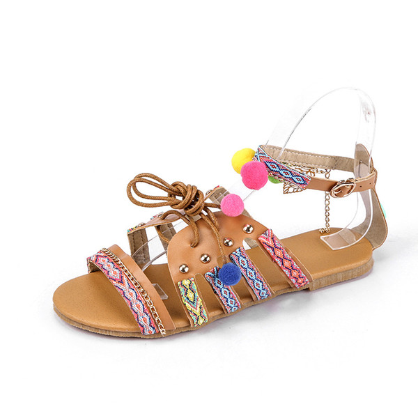 Woman Shoes 2019 new Women's Sandals Open Toe String Bead Decoration National Wind Flat Sandals Ethnic Lady's Sandal Size 35-43