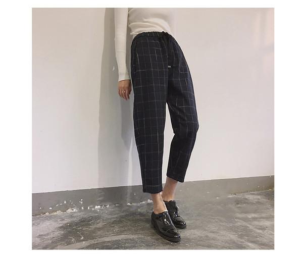 2018120811 Pantaloni a vita bassa a vita bassa con bottoni Pantaloni donna primavera autunno elastico in vita bassa Pantaloni da donna a gamba dritta multicolor