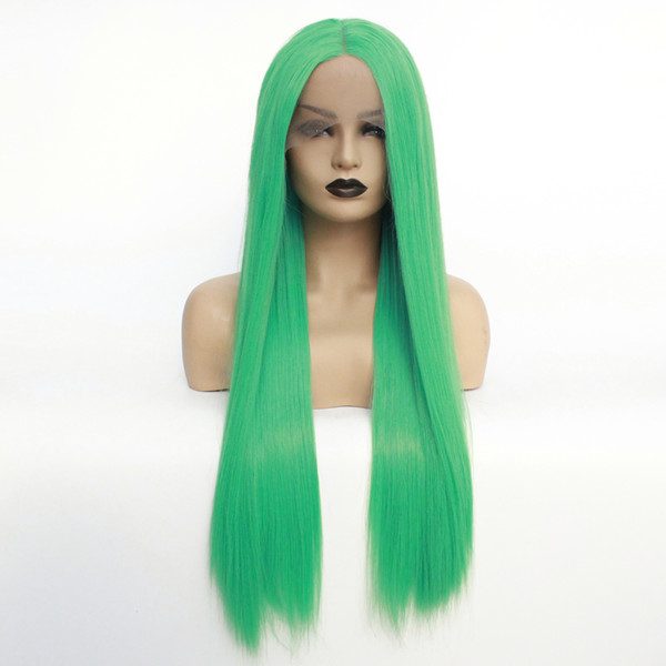 New Sexy Natural Hairline Long Straight Wigs Green Cosplay Color Heat Resistant Fiber Glueless Synthetic Lace Front Wigs for Black Women
