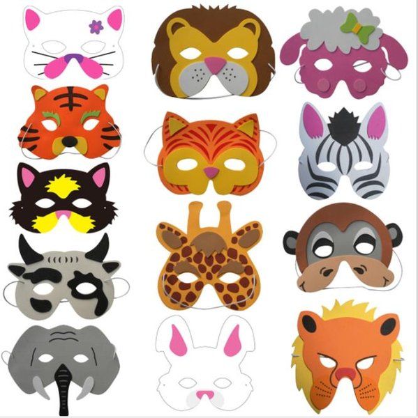 Kids Upper Half Face Masks Party Birthday Party Assorted EVA Foam Cartoon Animal Masks Festive Supplies 30pcs/lot GB596