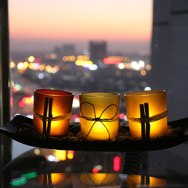 100Sets Natural Wind-proof Candlescape Set 3 Decorative Glass Candle Holders with Rocks and Tray Home Wedding Candleholder Decor