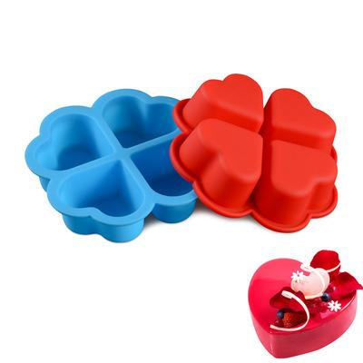 4 Even Heart Shaped Cake Mold Handmade Silicone Soap Mold Love Shape Cake Decorating Tools Fondant Molds