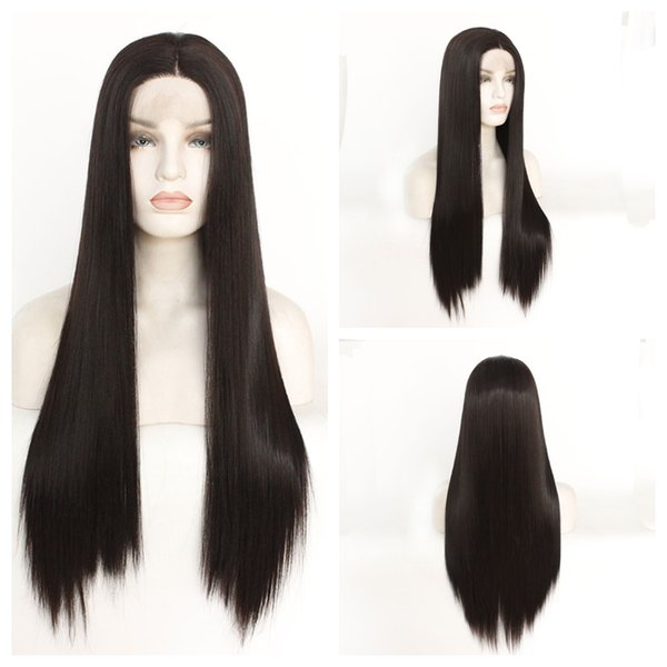 Centre parting Lace Front Wigs Long straight Hair 14''-26'' Heat resistant Soft Synthetic wigs for Women