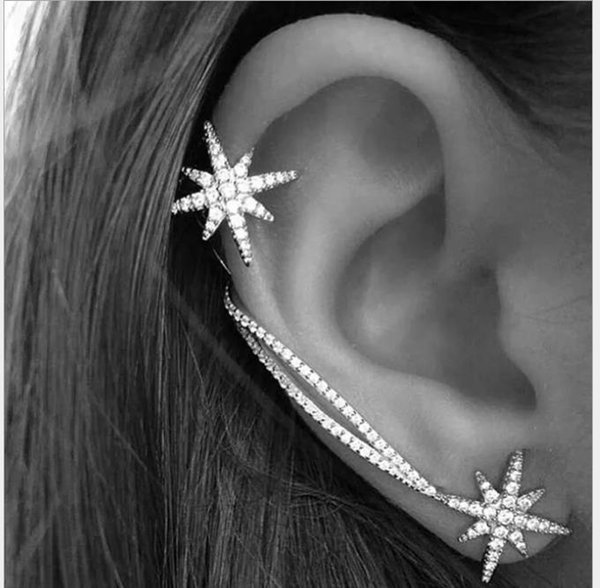 top popular Snowflake earrings female stars ear bone clip personality set rhinestone flower asymmetrical earrings 2019