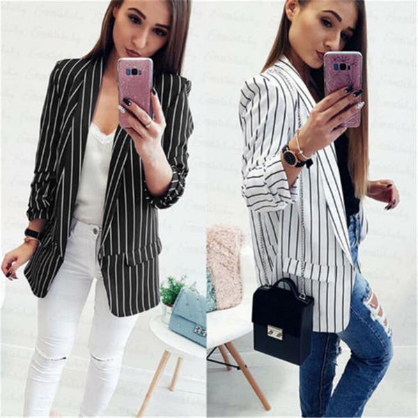 Moda Outono Mulheres Blazers Listrados e Jaquetas Trabalho Senhora Escritório Fino Branco Magro Preto Nenhum Botão de Negócios feminino blazer Brasão