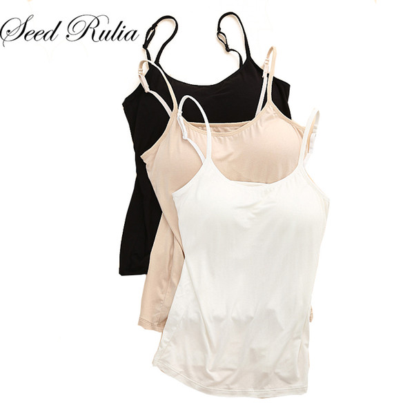 Sexy Cotton Tanks Women Top Solid Padded Tanks Female Ladies Tank Tops