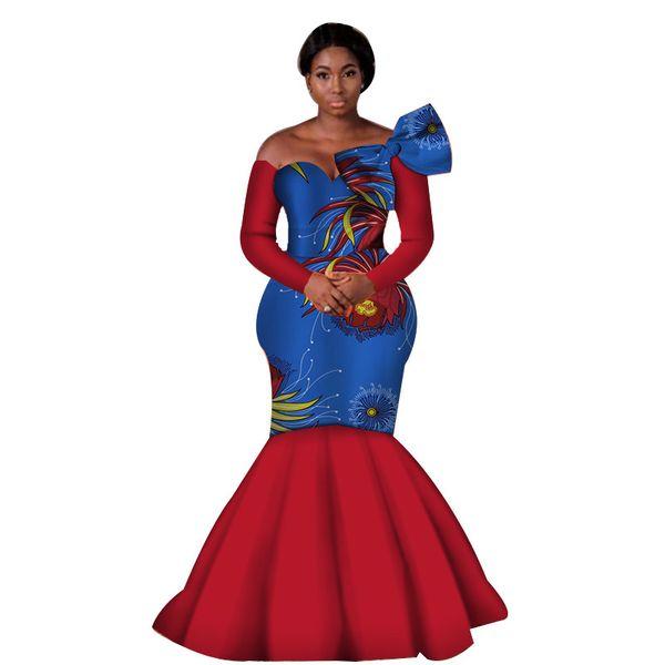 Kadınlar Afrika Elbiseler Afrika Balmumu Baskı Bazin Riche Seksi Kapalı Omuz Uzun Kollu Düğün Parti Elbise Zarif Mermaid WY3966