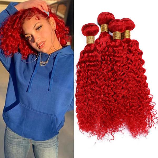 Peruvian Human Hair Red Color Deep Wave Bundles Deals 4Pcs 400Gram Bright Red Deep Curly Wave Virgin Human Hair Weave Wefts Mixed Length