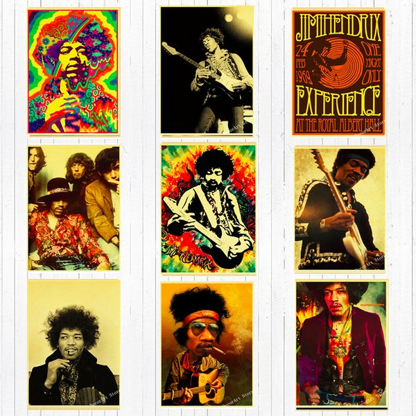 Rock Music Guitarist Jimi Hendrix Canvas Painting Vintage Wall Kraft Posters Stickers Home Decoration Wall Picture Living Room