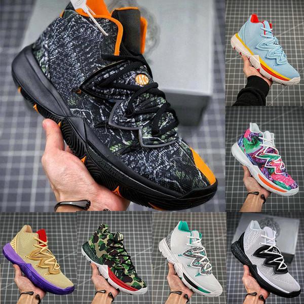 2020 Yeni Geliş Erkek Kyrie V Basketbol Ayakkabı Yıldönümü Sünger Irving 5 Spor Sneaker için Patrick Black Magic Mısır İşlemeli
