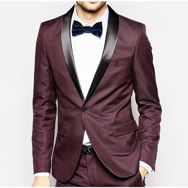 New Arrival Burgundy wedding suits for men frim fit men suits notched lapel groomsmen suits tuxedos two buttons groom suit
