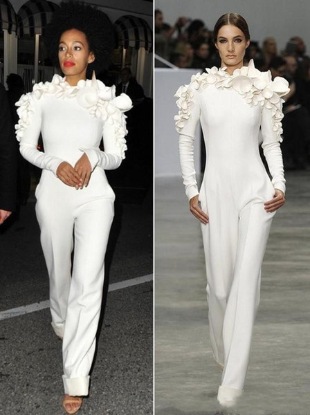 2019 Sexy White Leg Jumpsuit Long Sleeves High Neck with Flowers Formal Party Evening Dresses Custom Made New Arrival Celebrity Dresses