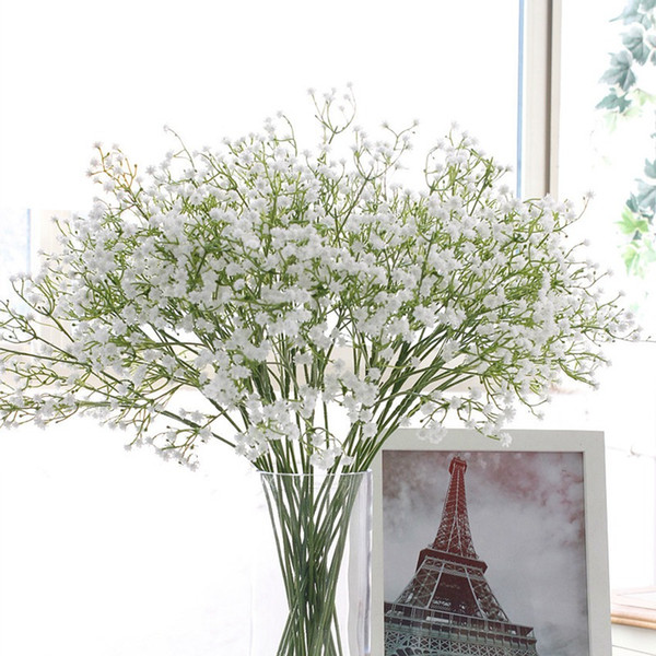 top popular Colorfull Artificial Gypsophila Soft Silicone Real Touch Flowers Artificial Gypsophila for Wedding Home Party Festive Decoration HHAA429 2021
