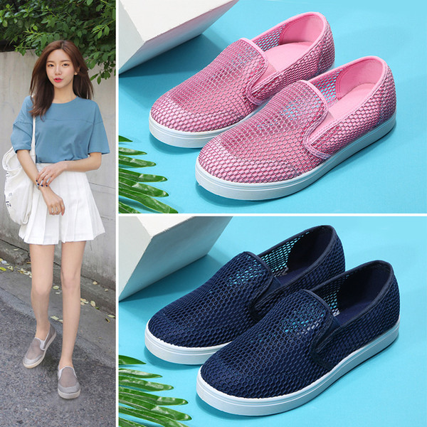 2019 Summer Flat Platform Shoes Woman Breathable Mesh Casual Sneakers Shoes Slip On Pink Fashion Hollow Ladies Walking
