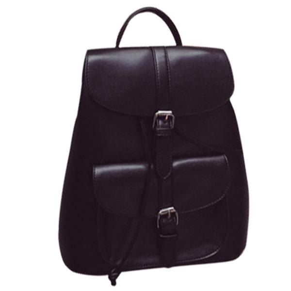 Fashionable Women's Pull-Rope Pu Leather Backpack Belt Decoration Schoolbag Student Shoulder Bag(Black)