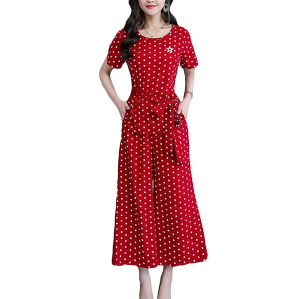 Polka dot wide leg pants Suit Women Summer New Fashion Chiffon nine pants Two Sets Women's Plus size Sets Red wine 4XL F121