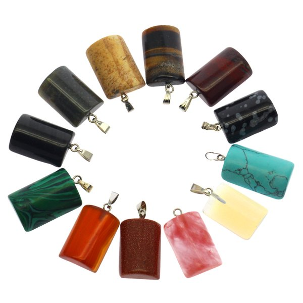 2019 gemstone 12 mixed color box packed pendant set natural crystal agate stones fan-shaped pendant wholesale