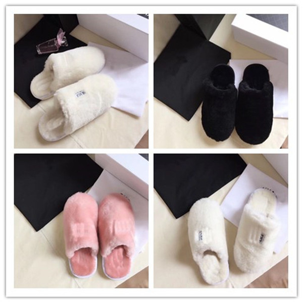 Diseñador Mujeres Hombres Zapatillas peludas Sandalias de piel unisex Botas de invierno cálidas Zapatos Lana Botas de casa Zapatillas de piel cálida interior al aire libre C72907