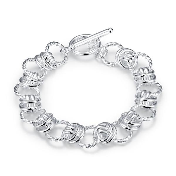 Braccialetti adorabili Doppi cerchi 925 braccialetti d'argento placcato argento romantico Bracciale a catena a maglia per San Valentino gioielli regali POTALA072