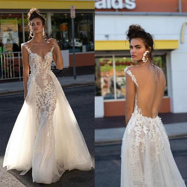 2019 Berta Summer Beach Wedding Dresses Backless Lace Appliques Detachable Train Boho Wedding Gown Cap Sleeve Overskirt Tulle Bridal Dress