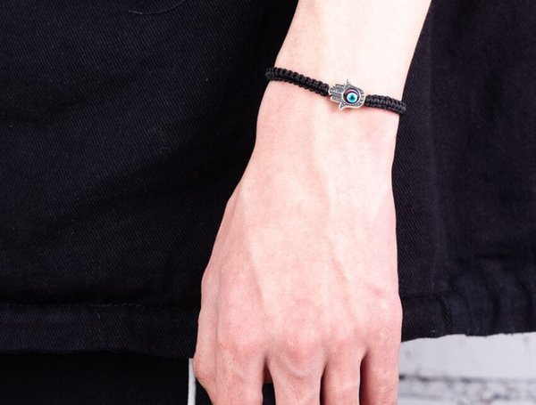 Free ship 20pcs Lucky Kabbalah black String Thread Hamsa Bracelets Turkish Evil Eye Charm Women Handmade Friendship Jewelry