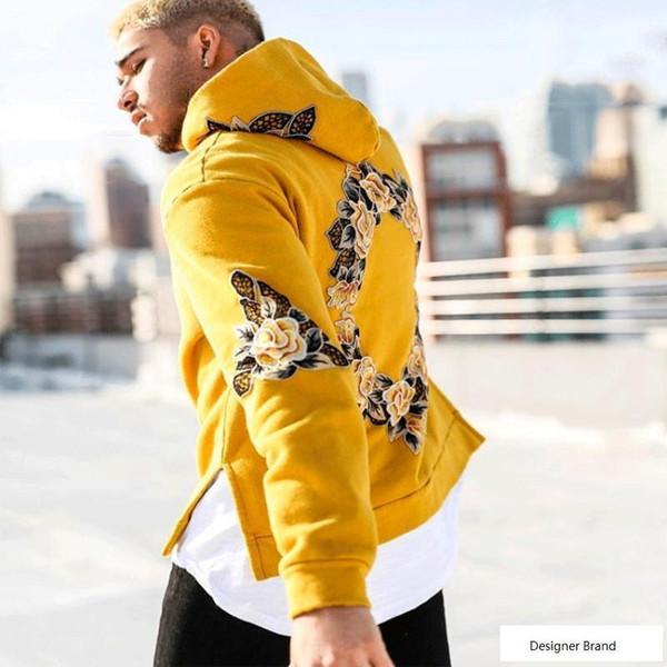 2018 Tracksuit Men off yellow White Hooded Hoodies Mens Streetwear Sweatshirt Hip Hop printing Pullover Fleece Hoodie moleton