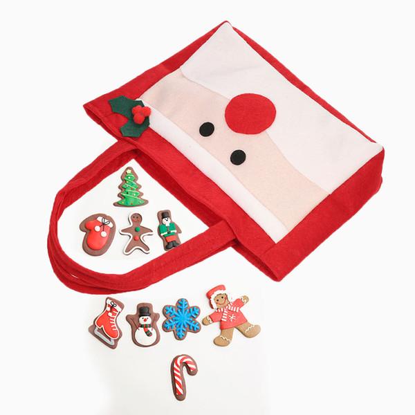 2pcs / set Père Noël Style Sacs De Bonbons De Noël avec Poignées Non-tissés Emballage Cadeau Sac X'mas Décoration Ornements