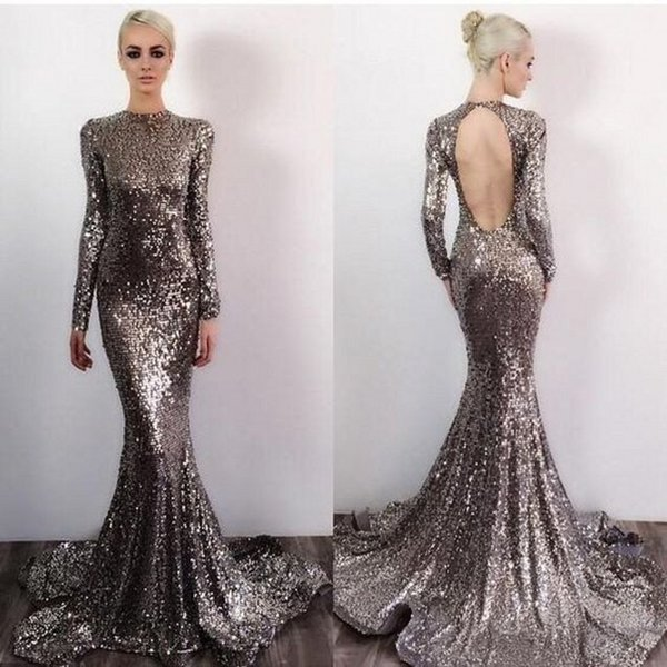 Open Back Long Sleeves Sparkle Silver Sequin Sexy Mermaid Prom Dresses 2019 Collar Evening Gowns Custom Made