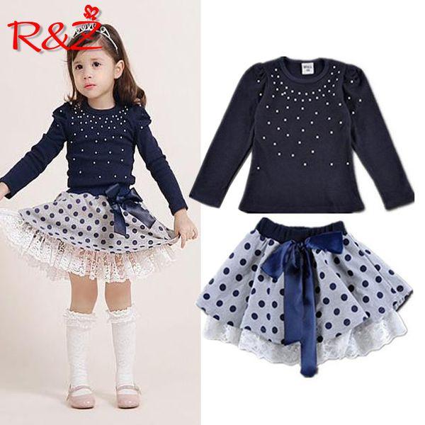 Trajes Rz Girls '2019 Nueva llegada Otoño Niñas camiseta + Falda 2pcs Ropa Diamond Dot Bow Vestido de falda de los niños K1 Y190522