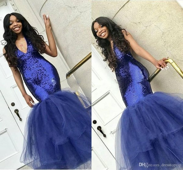 e82ae638688 Sexy Black Girl Sequined Prom Dresses Navy Blue Deep V Neck Formal Evening Gowns  Tulle Skirt