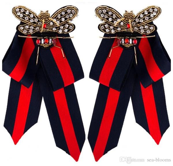 2019 moda strass di cristallo del nastro spille fiocco spilla pre-legato bow tie cravatta collare gioielli per le donne signora festa di nozze papillon h415r f