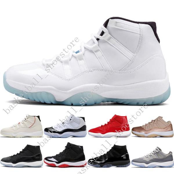 Melhor 11 Platinum Tint Concord 45 Cap e Gown Ginásio Vermelho Preto Stingray Meia Marinha Produzida Barões Bred 11 s Mens Womens Basketball Shoes Sneaker