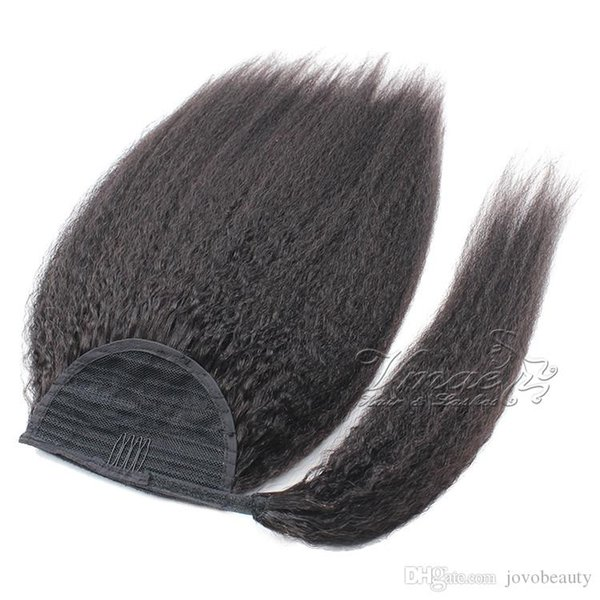Brasiliana cuticola allineata 100g 120g Claw Clip In Kinky Staight Coda di cavallo pezzi di capelli vergini Coda di cavallo avvolgere intorno capelli umani Coda di cavallo