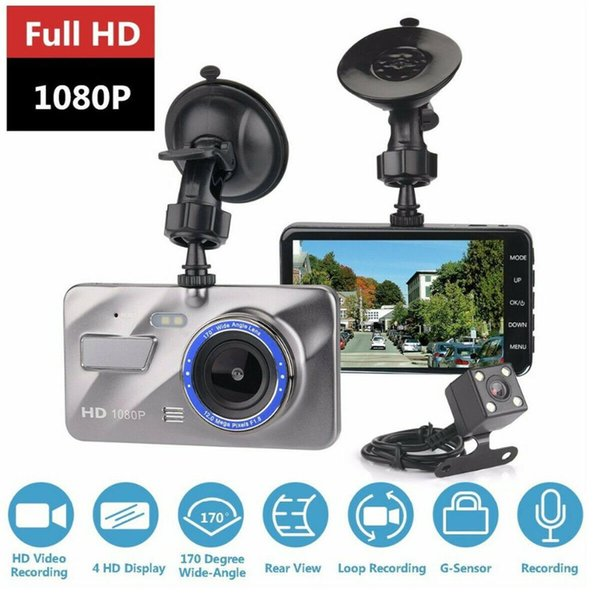 Car DVR Full HD 1080P Dual Lens 4 Inches IPS Screen WDR Car Camera Dash Cam Video Recorder Night Vision G-sensor Parking Mode